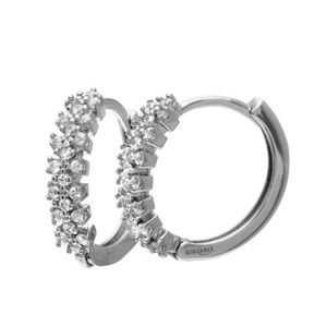 Jewelry - 15mm Silver 925 Rhodium Plated CZ Hoop Earrings
